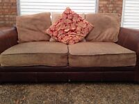 """Brown leather with fabric two seater sofa """"free delivery """" £ 60"""