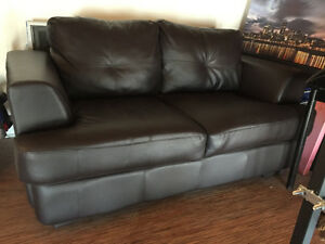 IKEA dark brown leather couch loveseat