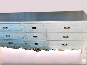 French Louis XV Dresser/Sideboard in Light Blue & Silver-Solid