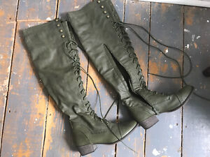 Army green over-the-knee boots