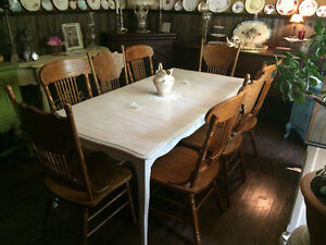 Restored&Refinished Maple Dining Table/Antique White/SEATS 8