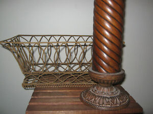 Large Candle holder, wooden with iron base, and rustic basket St. John's Newfoundland image 2