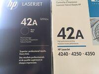 HP 42A Q5942A black cartridges x2