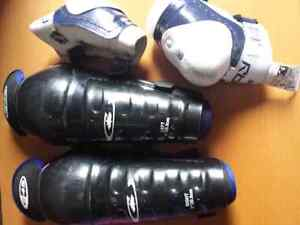 "Hockey Elbow Guards size 1 & 8"" Shin Guards"
