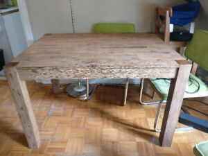 wood Dining table and green dining chairs (Structube)