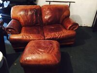 Stunning full leather hide 2 seater and stool