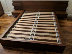 Ikea Queen Bed Frame with two night stands