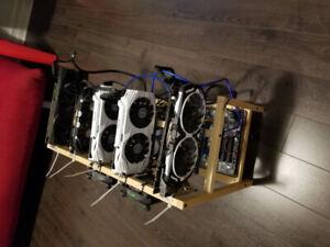 Mining Rig 5 cartes :  4 x gtx 1060 6g + 1 x gtx 1070 8g