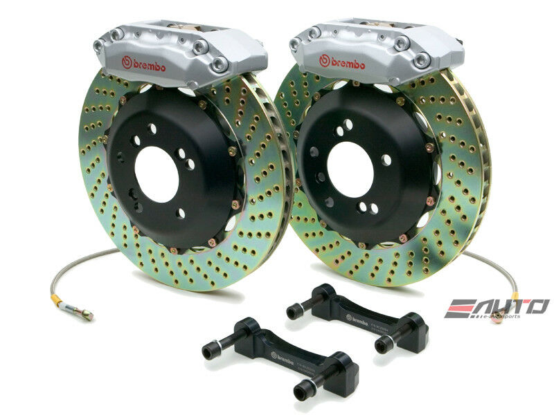 Brembo Front Gt Bbk Brake 4pot Silver 328x32 Drill Disc Rotor Is300 Jce10 01-05