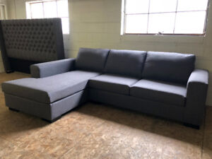 """Brand New Comfy Gray 110"""" by 78 """" Sectional Made in Canada"""