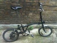 Black Brompton M3L 3 speed folding bicycle WORLDWIDE SHIPPING