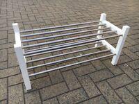 IKEA white and silver shoe rack