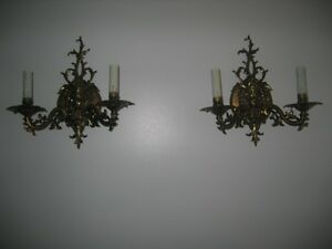 VINTAGE PAIR BRASS WALL SCONCES LAMP