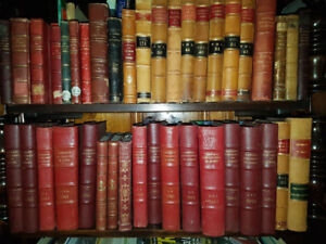 Antique and vintage genuine Leather bound Books (mostly French).