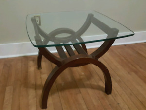 Wood/Glass side table- Must go this week