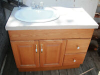 Oak Vanity and Mirror for sale $300.00
