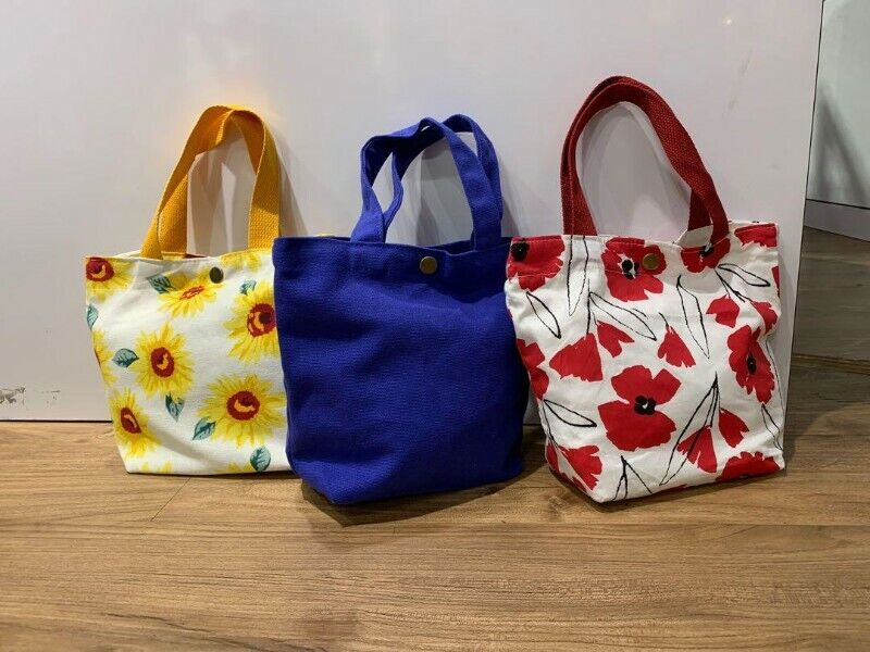 Ladies Fabric Tote Bag Canvas Printed Small Cute Carrier Everyday Bag With Button Ready Stock Gift