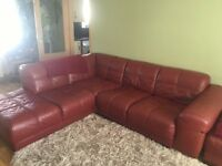 Gillies red leather corner sofa PRICE REDUCED
