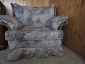 Armchair with Wood Accents