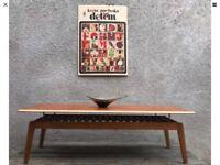 Mid Century Teak Floating Top Coffee Table with Slatted Undershelf