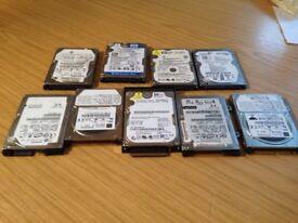 "8 x Laptop hard drives 2.5"" various size"