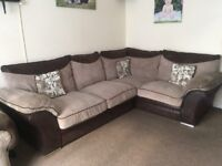 Brown 3/4 seater corner couch + matching single chair