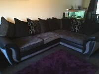 DFS corner sofa & snuggle chair with footstool