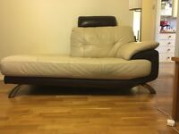 Two seater leather chaise lounge sofa
