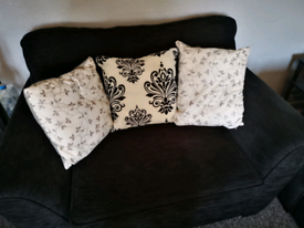 2 x Chenille Snuggle chairs with a free ottoman