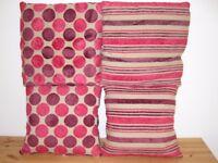 4x Four Pink Purple Stripe Polka Dot Fluffy Soft Sofa Chair Cushions