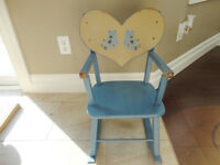 Solid Wood Blue Baby Rocking Chair -Could use a couple touch ups