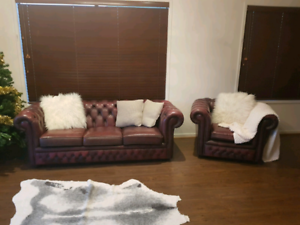 Genuine chesterfield lounge suite couch leather with armchair