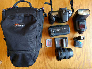 Canon 30D, wide angle lens, flash and accessories