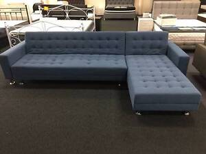 New 5 seater Black Leather/Blue Fabric Sofa Bed Couches Loung Clayton South Kingston Area Preview