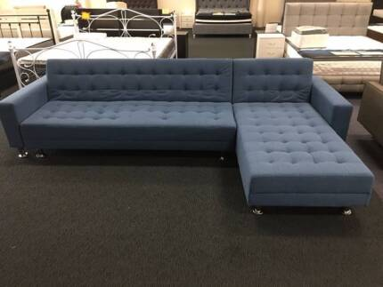 New 5 seater Black Leather/Blue Fabric Sofa Bed Couches Loung