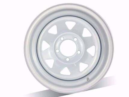 "BRAND NEW 14""X6 WHITE SUNRAYSIAS TRAILER AND CARAVAN WHEELS"