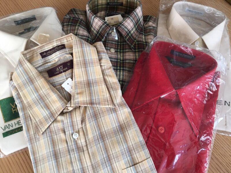 5 pc lot of Vintage Mens VAN HEUSEN Shirts Large 16 1/2 34/35 1
