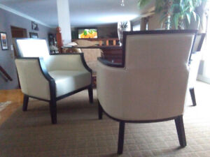 4 Leather Barrel Dining Chairs