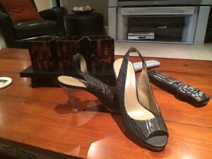 Charcoal Coloured Nine West Leather Sandals for Sale
