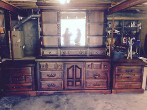 Pine hutch or bedroom suit with end tables&220