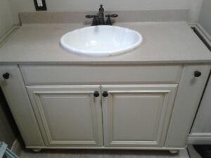 "48"" Thomasville bathroom vanity with matching mirror"