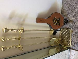 Heavy brass fireplace set