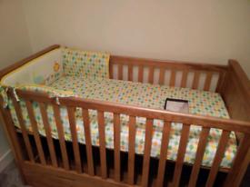 Oak Furniture Land Bevel Cot Bed + Storage Drawer, Mattress & Bedding