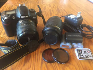 Nikon D70 + 2 lenses (55-200 and 18-70)  batteries OBO