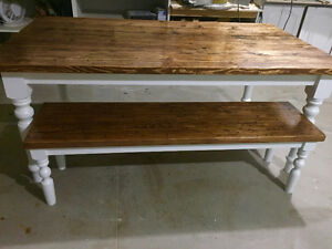 Harvest table and bench $1050