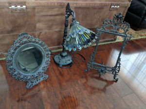 Antique Tiffany style lamp with Mirror and frame