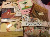 Extra large classroom sized reading books and a mixed assortment of new fabric