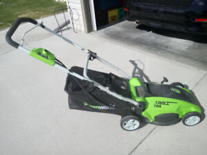"Greenworks 16"" electric lawnmower"