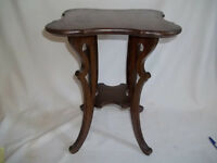 Lovely Oak Small Hall Table, Plant Stand, Scalloped Style Edges