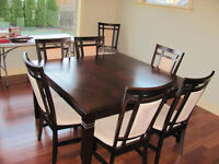 Square Dining Table and Eight Chairs